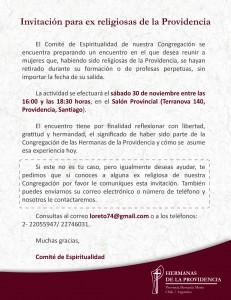 Invitación para ex religiosas de la Providencia